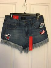 Celebrity Pink Juniors Frayed Shorts Stars Heart American Flag Size 9/29