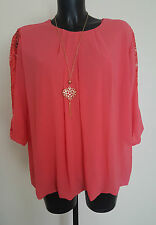 New Womens Ladies Pink/White/Black Chiffon Top Blouse With Net Sleeves Necklace