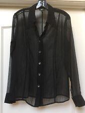 PHILIPPE ADEC 3 PARIS womens BLACK blouse SILK/ Wool Blend. Gorgeous!