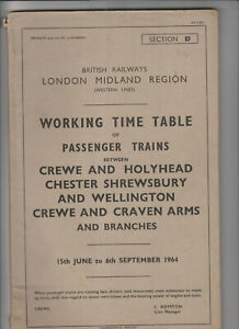 London Midland Railway Working Timetable Sect D  Holyhead Crewe 1964