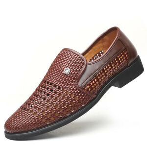 Men Business Shoes Breathable Hollow Out Sandals Slip On Lace Up Pu Formal Sanda