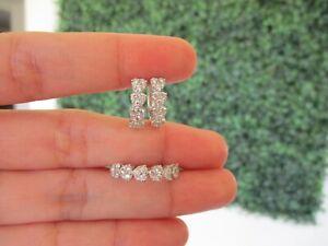 """1.19 CTW Diamond Earrings&Ring Set 18K White Gold JS21 sep """"SP"""""""