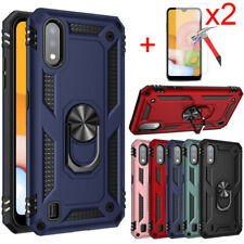 For Samsung Galaxy A01 Case Magnetic Ring Holder Stand / Glass Screen Protector