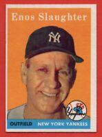 1958 Topps #142 Enos Slaughter EX-EX+ WRINKLE New York Yankees HOF FREE SHIPPING
