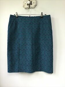 Gorgeous Ladies White Stuff Navy Blue & Teal Patterned Skirt, UK Size 12, Excell