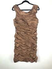 Cachet Brown/Gold Body Con Dress Size 16
