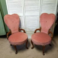 2 Vintage Pink Heart Back French Victorian Upholstered Boudoir Vanity Chairs