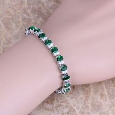 Green Emerald 925 Sterling Silver Bracelet White Topaz Link Chain 7 Inch