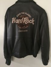 Vintage Hard Rock Cafe CHICAGO Brown Genuine Leather Bomber Jacket Mens, M