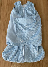 2 Halo Sleep Sack Swaddles - Soft Minky Dot - Newborn - Ivory And Light Blue