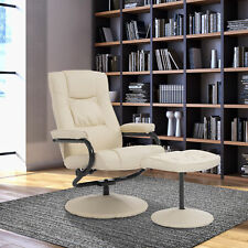 Contemporary Recliner Chair & Ottoman Set Swivel Armchair W/ Wrapped Base Cream