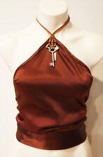 Super SEXY! Perfect Condition Vintage Silk Satin Halter Top-Antique Key Detail