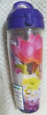 Tervis Floral Water Bottle with Purple Lid 24 oz. NWT