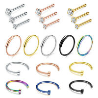 20PCS Nose Hoop Rings Ear Studs Piercings Jewelry 316L Stainless Steel 22G