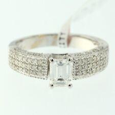 Womens 14k White Gold Genuine Emerald Cut Diamond Ladys Wedding Engagement Ring