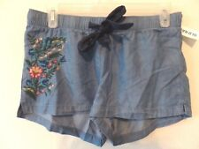 Old Navy Womens XS Lyocell Blue Denim Colored Floral Embroidered Shorts New