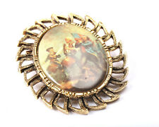 Gold Tone Brooch with Painting, Vintage 1950s