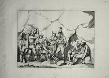61 x 44 cm  Pinelli Incisione Originale Briganti Caverna Roma 1836