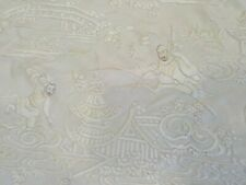 """Vintage Chinese Silk Elaborately Embroidered Shawl or Piano Scarf, 84"""" Square"""