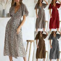 Women Summer V-neck Leopard Short Sleeve Long Maxi Party Beach Dress Sundress US