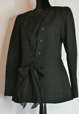 CHANEL Sz 42 Black Blazer CC Buttons Chain Removable Bib Textured Bow Pockets FR