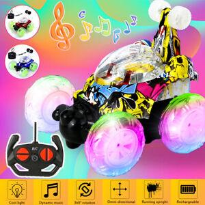 Fernbedienung Stunt Auto 360 ° Drehung Flip Drift LED Musik Light Tanzen RC