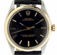 Men Rolex 14K Gold/Stainless Steel Oyster Perpetual Watch w/Black Dial Band 1005