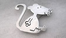 Whimsical Mouse Brooch / Pin 10.2g Vintage Mexico 925 Sterling Silver Modernist