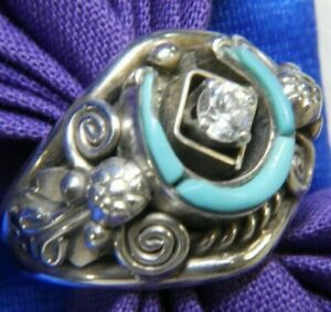 """Men's Turquoise Horseshoe 5/8"""" vintage 0.925 Sterling Silver band Ring size 9"""