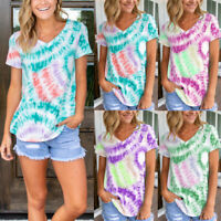 Womens Short Sleeve V Neck Tie-dyed Print Tops Casual T-Shirts Blouse