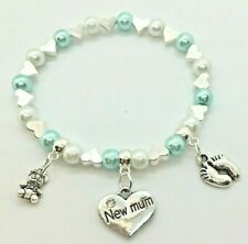 NEW MUMMY mum newborn baby shower charm bracelet gift bag & tag, 30+ COLOURS