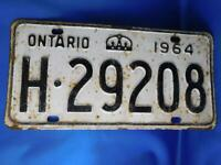 ONTARIO LICENSE PLATE 1964 H 29208 VINTAGE CANADA  MUSCLE CAR SHOP GARAGE SIGN