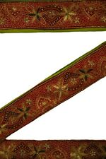 Reliable Sanskriti Sari Border Antique Hand Embroidered 1yd Indian Trim Sewing Brown Lace Be Novel In Design Trims