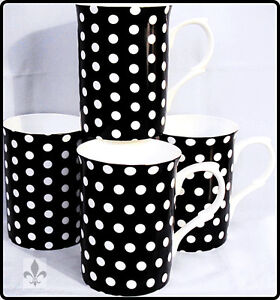 Black Dots Mugs Set of 4 Bone China Black Mugs Hand Decorated in UK