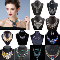 Fashion Women Pendant Alloy Choker Chunky Statement Chain Bib Necklace Jewelry