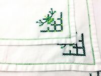 Vintage Handmade Napkins White w/Green Cross Stitching Set of 4