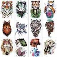WYUEN 12 PCSlot Watercolor Tiger Temporary Tattoo Sticker for Women Men Fashion