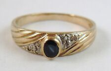 100% Genuine Vintage 9k Solid Yellow Gold 0.29cts Sapphire Ring Sz 7.5