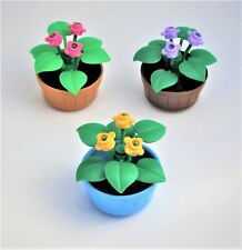 NEW LEGO Lot of 3 Potted Plants Barrel Flowers Leaves Green Yellow Pink Lavender