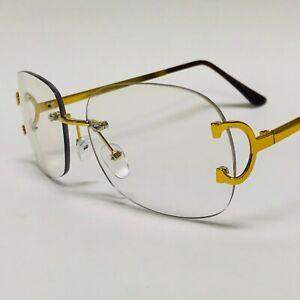 Men Sunglasses Gold Clear Lens Eye Glasses Brown Metal Frame Hip Hop Fashion