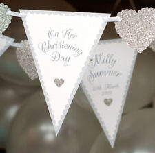 PERSONALISED CHRISTENING BANNER BUNTING SILVER CHRISTENING PRESENT DECS SIGN