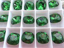 4 Fern Green Foiled Swarovski Crystal Square Cushion Cut  Stone 4470 12mm