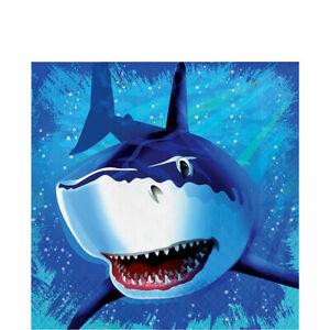 SHARK SPLASH HAPPY BIRTHDAY LUNCH DINNER NAPKINS TABLEWARE NEW 16 COUNT