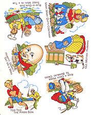 Ceramic Decals Nursery Rhymes Set of 6   Rub-a-Dub-Dub, Mary, Humpty  Graphic
