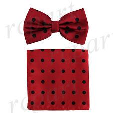 New Men's Microfiber Pre-tied Bow Tie & Pocket Square Hankie Red / Black Dots
