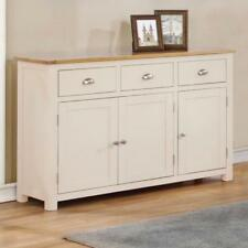 Cream Painted Large Oak Sideboard / 3 Door 3 Cupboard Wood Sideboard / Millbrook