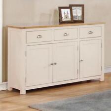 Cream Large Oak Sideboard Painted 3 Door 3 Cupboard Wood Sideboard / Millbrook