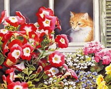 Canvas Print Oil painting Cat Looking out the window printed on canvas L1142