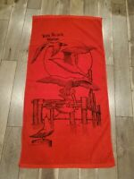 Vintage Beach Towel York Beach Maine Seagulls Hanging Out dated 1983 red terry