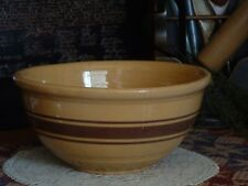 10 Inch Yellow Ware Brown Raised Band Pottery Stoneware Bowl Weller
